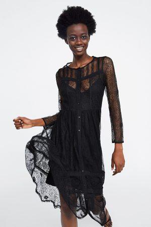 Zara Vestido combinado de renda