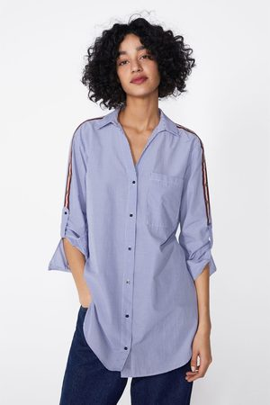 Zara Camisa às riscas com faixa em contraste