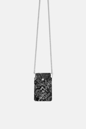 Zara Mala a tiracolo porta-telemóvel de vinil com estampado animal