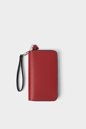 Zara Carteira xl vermelha com fecho de correr duplo