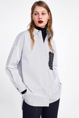 Zara Striped shirt with tweed pocket