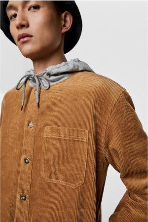 Zara Camisa comprida de bombazina com capuz