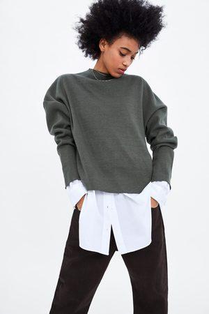 Zara Senhora Camisolas - Sweater oversize em malha canelada