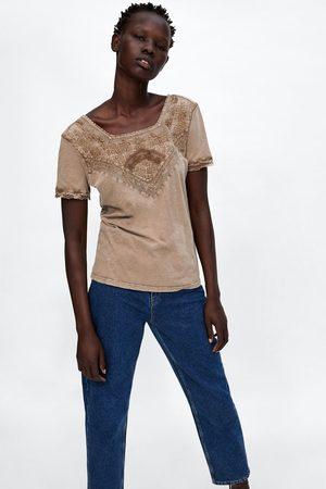 Zara T-shirts & Manga Curta - T-SHIRT COMBINADA LAVADA