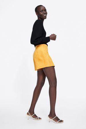 Zara Saia-calção com efeito de camurça