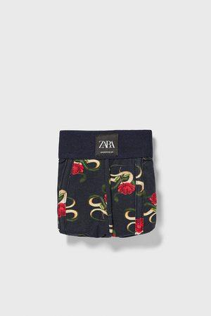 Zara Boxers com estampado de rosas