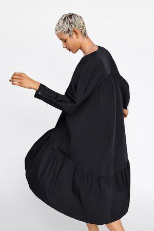 Zara Vestido comprido popelina