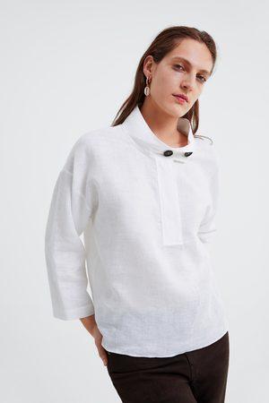 Zara Blusa de linho oversize com botões