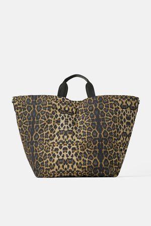 Zara Mala tote bag acolchoada com estampado animal