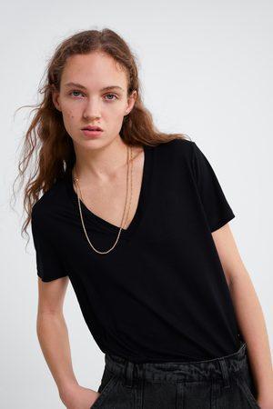 Zara Senhora T-shirts & Manga Curta - T-shirt básica de liocel
