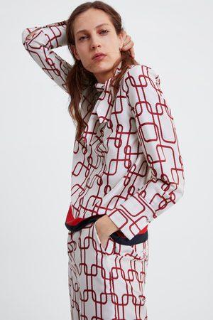 Zara Blusa estampada com laço