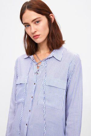 Zara Camisa às riscas com laço