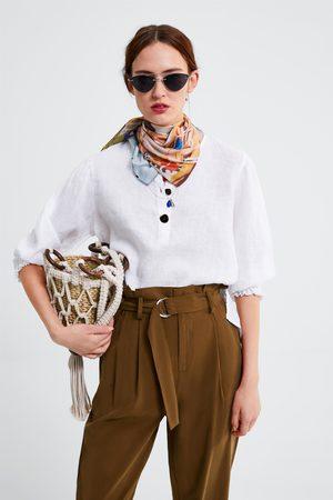Zara Blusa de linho com botões
