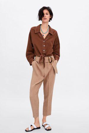 Zara Camisa cropped com botões