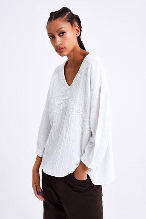 Zara Blusa de algodão com renda