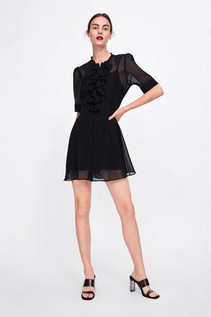 Zara Vestido semitransparente com folhos