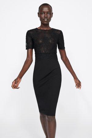 Zara Senhora Vestidos - Vestido combinado de renda