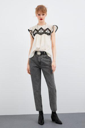 Zara Blusa bordados a contrastar