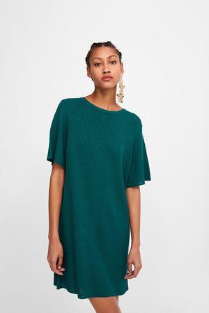 Zara Vestido de malha canelada