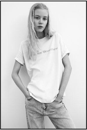 Zara Senhora T-shirts & Manga Curta - T-shirt texto flúor