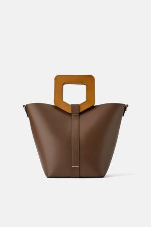 Zara Mala tote bag rígida com alça madeira