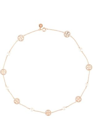 Tory Burch Crystal pearl logo necklace