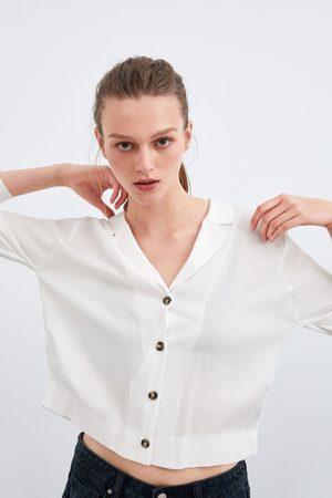 Zara Camisa curta com pregas