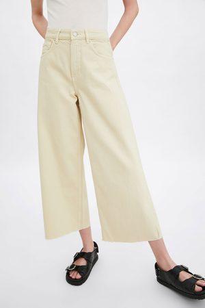 Zara Jeans culotte mid-rise cropped