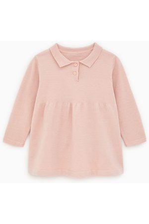Zara Vestido de malha tipo camisa polo