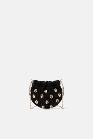 Zara Mini mala a tiracolo de pele com conchas