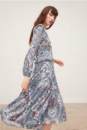 Zara Vestido estampado com fio metalizado