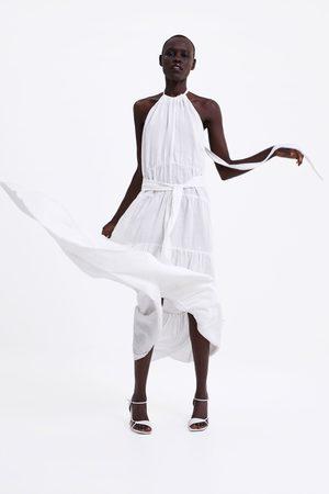 Zara Vestido comprido de linho