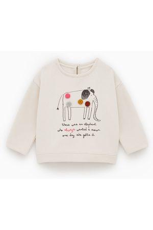 Zara Sweatshirt com elefante e pompons