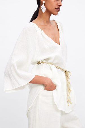 Zara Blusa de linho com cinto combinada