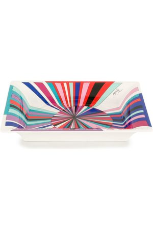 Emilio Pucci Coral And Blue Sole Print Valet Tray