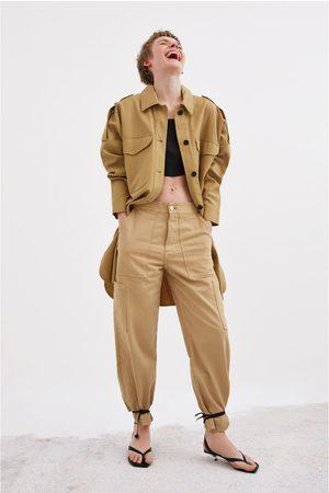 Zara Senhora Casual - Camisa comprida com bolsos