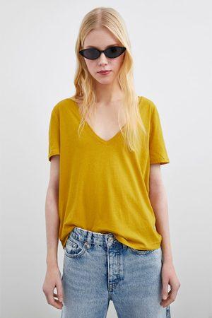 Zara T-shirt com decote em v