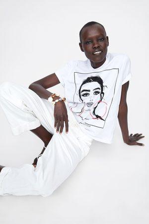Zara T-shirt estampado à frente