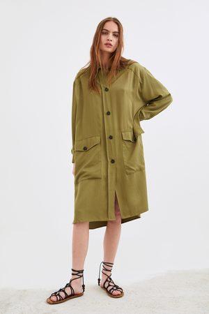Zara Camisa comprida com bolsos