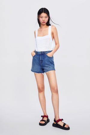 Zara Calções high waist soma blue