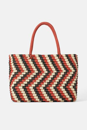 Zara Mala tote bag de papel trançado tricolor