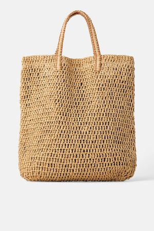 Zara Mala tote bag paper trançada