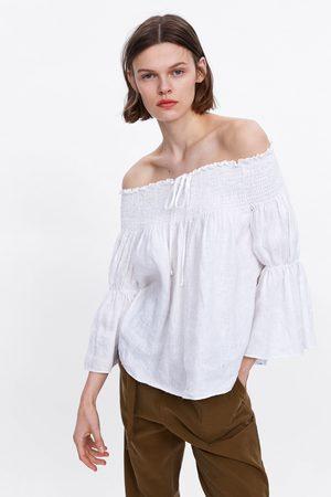 Zara Blusa de linho com elásticos