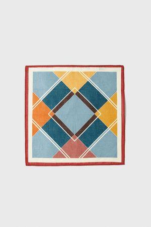 Zara Lenço de bolso com estampado geométrico