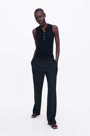 Zara Camisa polo de malha com botões