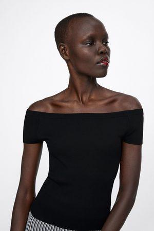 Zara Top with straight-cut neckline