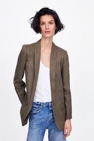 Zara Blazer de linho com bolsos
