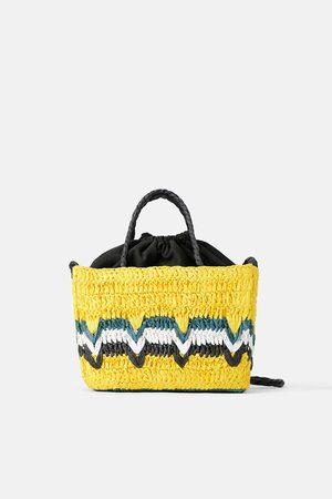 Zara Mini mala tote bag com trançado natural colorido