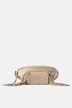 Zara Mala a tiracolo tipo bolsa de cintura de camurça split com franjas