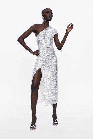 Zara Vestido com lantejoulas assimétrico